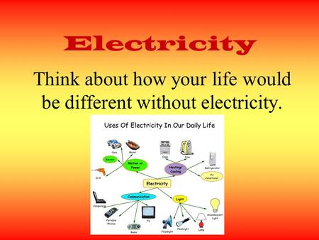 Think about how your life would be different without electricity.