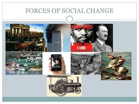 "FORCES OF SOCIAL CHANGE. Forces of Social Change "" Everyone over the age of forty is an immigrant"" - Margaret Mead Cultural anthropologist."