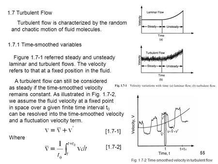 55 1.7 Turbulent Flow Turbulent flow is characterized by the random and chaotic motion of fluid molecules. 1.7.1 Time-smoothed variables Figure 1.7-1 referred.