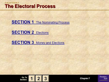 123 Go To Section: The Electoral Process C H A P T E R 7 The Electoral Process SECTION 1 The Nominating Process SECTION 2 Elections SECTION 3 Money and.