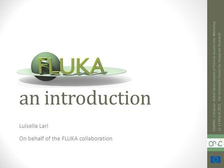 An introduction Luisella Lari On behalf of the FLUKA collaboration CAoPAC: Computer-Aided Optimization of Particle Accelerator Workshop 11-13 March 2015.