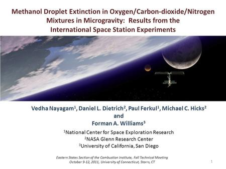 1 Methanol Droplet Extinction in Oxygen/Carbon-dioxide/Nitrogen Mixtures in Microgravity: Results from the International Space Station Experiments Vedha.