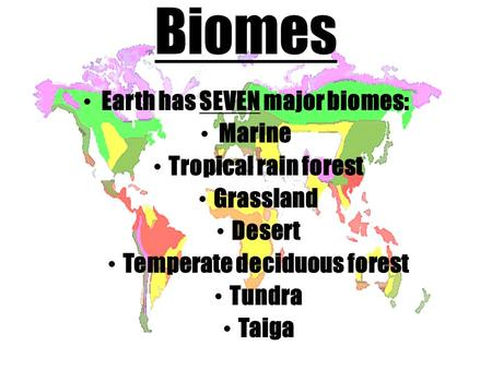 Biomes Earth has SEVEN major biomes: Marine Tropical rain forest Grassland Desert Temperate deciduous forest Tundra Taiga.