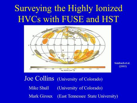 Surveying the Highly Ionized HVCs with FUSE and HST Joe Collins (University of Colorado) Mike Shull (University of Colorado) Mark Giroux (East Tennessee.