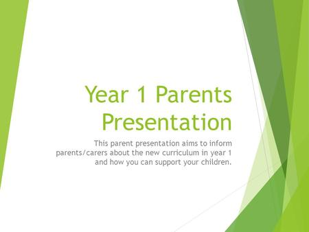 Year 1 Parents Presentation This parent presentation aims to inform parents/carers about the new curriculum in year 1 and how you can support your children.