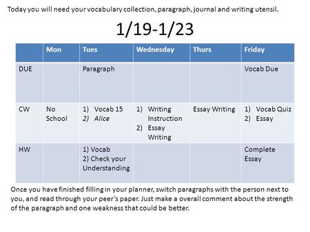 1/19-1/23 MonTuesWednesdayThursFriday DUEParagraphVocab Due CWNo School 1)Vocab 15 2)Alice 1)Writing Instruction 2)Essay Writing Essay Writing1)Vocab Quiz.