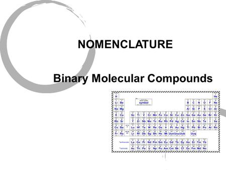 NOMENCLATURE Binary Molecular Compounds Periodic Table.