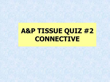A&P TISSUE QUIZ #2 CONNECTIVE. 1.List 3 functions of connective tissue A. Support B. protection C. insulation D. Transportation E. hold things together.