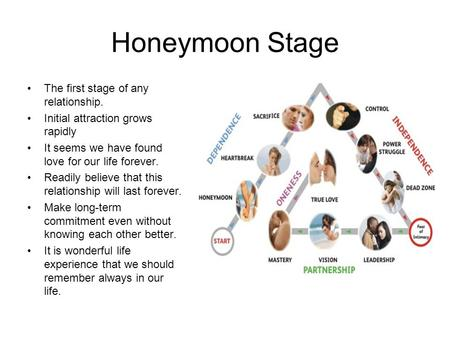 Honeymoon Stage The first stage of any relationship. Initial attraction grows rapidly It seems we have found love for our life forever. Readily believe.