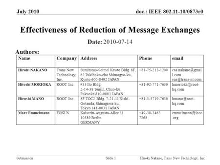 Doc.: IEEE 802.11-10/0873r0 Submission July 2010 Hiroki Nakano, Trans New Technology, Inc.Slide 1 Effectiveness of Reduction of Message Exchanges Date: