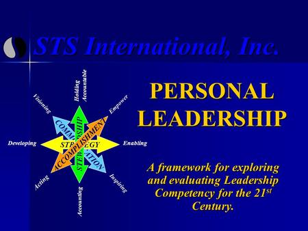 STS International, Inc. PERSONAL LEADERSHIP A framework for exploring and evaluating Leadership Competency for the 21 st Century. COMMUNICATION Visioning.