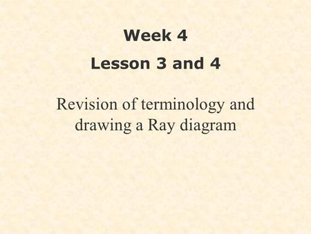 Revision of terminology and drawing a Ray diagram