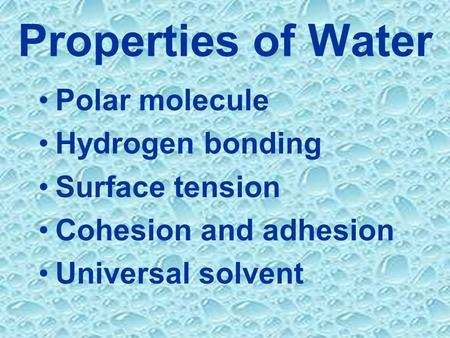 Properties of Water Polar molecule Hydrogen bonding Surface tension Cohesion and adhesion Universal solvent.