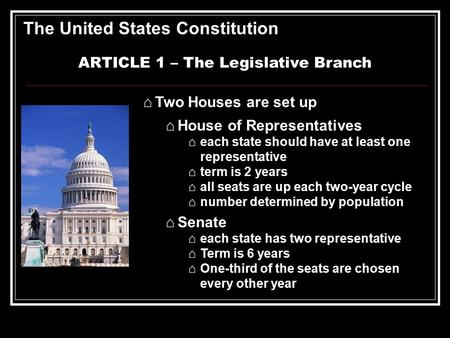 ARTICLE 1 – The Legislative Branch