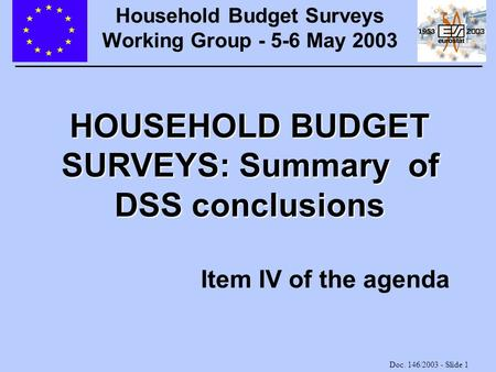 Doc. 146/2003 - Slide 1 HOUSEHOLD BUDGET SURVEYS: Summary of DSS conclusions Item IV of the agenda Household Budget Surveys Working Group - 5-6 May 2003.