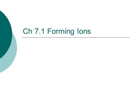 Ch 7.1 Forming Ions. Review…  Cations are Groups 1A, 2A, and 3A They have positive charges.  Anions are Groups 5A, 6A, and 7A They have negative charges.