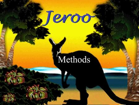 17-Feb-16 Methods. Overview In this presentation we will discuss these 4 topics: Main method vs. Jeroo methods Choosing behaviors to turn into methods.