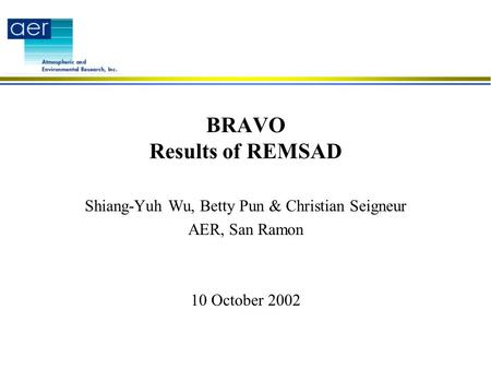 BRAVO Results of REMSAD Shiang-Yuh Wu, Betty Pun & Christian Seigneur AER, San Ramon 10 October 2002.