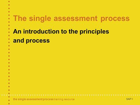 The single assessment process training resource SAP 1 The single assessment process An introduction to the principles and process.