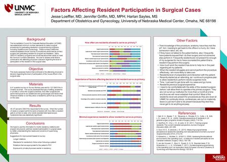 Factors Affecting Resident Participation in Surgical Cases Jesse Loeffler, MD; Jennifer Griffin, MD, MPH; Harlan Sayles, MS Department of Obstetrics and.