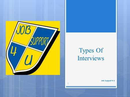 Types Of Interviews Job Support 4 U 1. Screening Interview 2 These are used to ensure candidates meet minimum requirements. Companies use these when they.