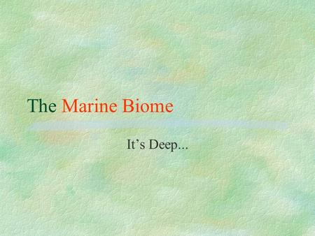 The Marine Biome It's Deep.... The Marine Biome §The largest of all the Biomes l More than (>) 70% of the Earth's surface is covered in water. Only 3%