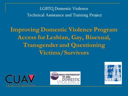 LGBTQ Domestic Violence Technical Assistance and Training Project Improving Domestic Violence Program Access for Lesbian, Gay, Bisexual, Transgender and.