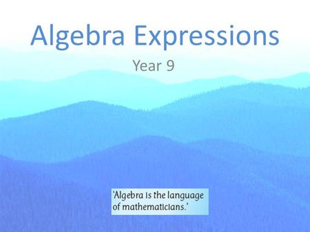 Algebra Expressions Year 9. Note 1: Expressions We often use x to represent some number in an equation. We refer to the letter x as a variable. x + 5.
