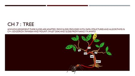 CH 7 : TREE ACKNOWLEDGEMENT: THESE SLIDES ARE ADAPTED FROM SLIDES PROVIDED WITH DATA STRUCTURES AND ALGORITHMS IN C++, GOODRICH, TAMASSIA AND MOUNT (WILEY.