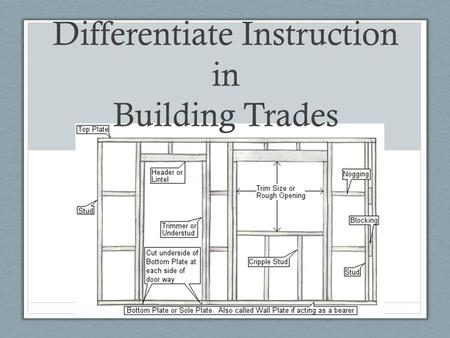 "Differentiate Instruction in Building Trades Differentiating instruction means ""shaking up"" what goes on in the classroom so that students have multiple."