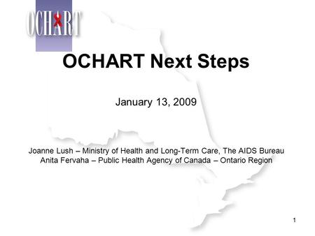 1 OCHART Next Steps January 13, 2009 Joanne Lush – Ministry of Health and Long-Term Care, The AIDS Bureau Anita Fervaha – Public Health Agency of Canada.