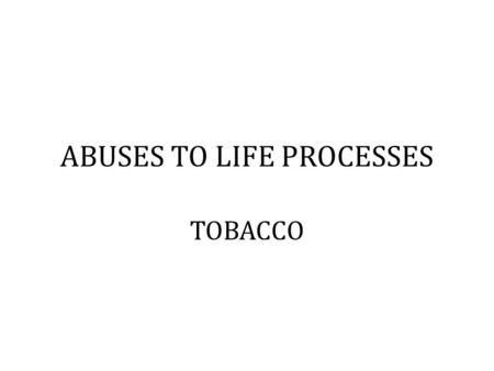 ABUSES TO LIFE PROCESSES TOBACCO. What is tobacco? It is a plant in which the leaves are dried are used to make cigarettes. There are more than 4 000.