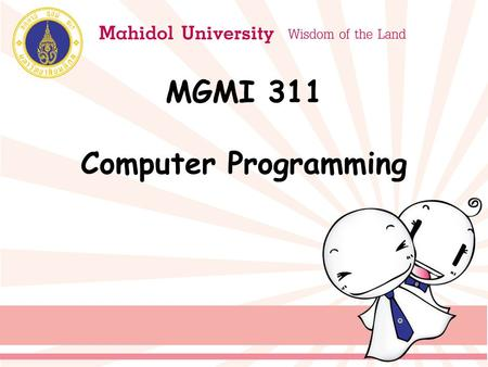 MGMI 311 Computer Programming. Course Assessment Class Attendance5% Class Participation5% Group Discussion5% Quiz5% Weekly Assignments20% Presentation10%