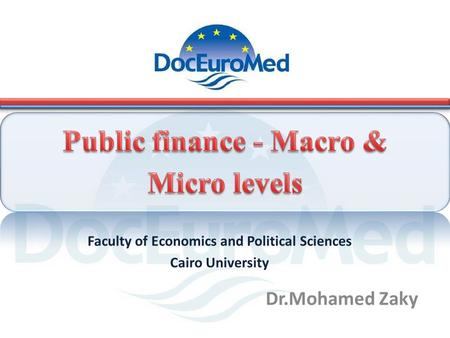 Dr.Mohamed Zaky Faculty of Economics and Political Sciences Cairo University.