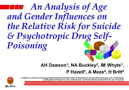 An Analysis of Age and Gender Influences on the Relative Risk for Suicide & Psychotropic Drug Self- Poisoning AH Dawson 1, NA Buckley 2, IM Whyte 1, P.
