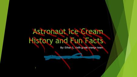 Astronaut Ice Cream History and Fun Facts By: Ethan S, sixth grade orange team.