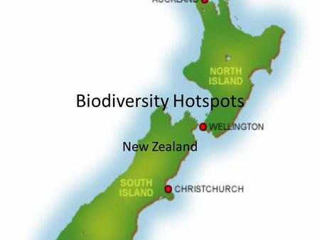 Biodiversity Hotspots New Zealand. About… New Zealand is an archipelago in the southern Pacific, 2000km south east of Australia Mainly mountainous but.