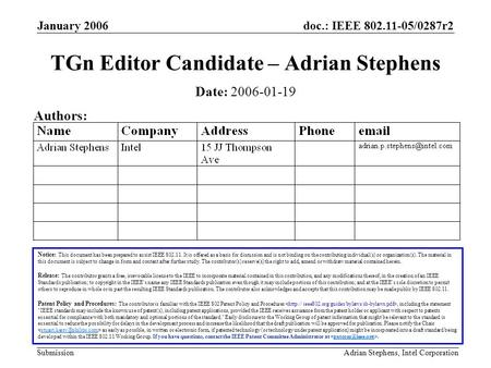 Doc.: IEEE 802.11-05/0287r2 Submission January 2006 Adrian Stephens, Intel Corporation TGn Editor Candidate – Adrian Stephens Notice: This document has.