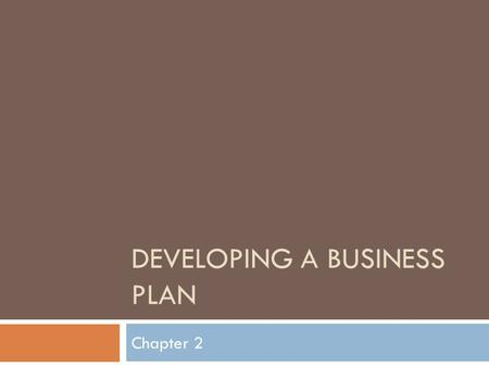 DEVELOPING A BUSINESS PLAN Chapter 2. Lesson 2.1 Why a business plan is important.