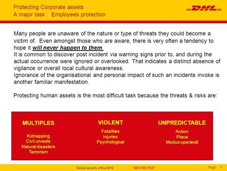 "Page Global security office 2012 ""RESTRICTED"" 1 Protecting Corporate assets A major task : Employees protection Many people are unaware of the nature or."