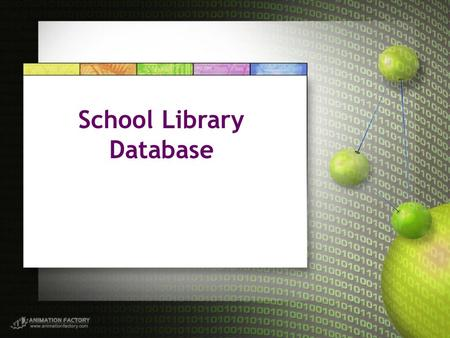 School Library Database. Description The school library database is responsible for controlling the inventory of books, videos, magazines, …etc including.