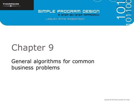 Chapter 9 General algorithms for common business problems.