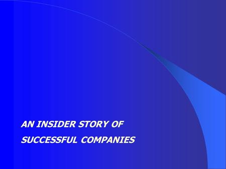 AN INSIDER STORY OF SUCCESSFUL COMPANIES. Learn from enterprising, flexible, innovative entrepreneurs how they started and managed successful companies,