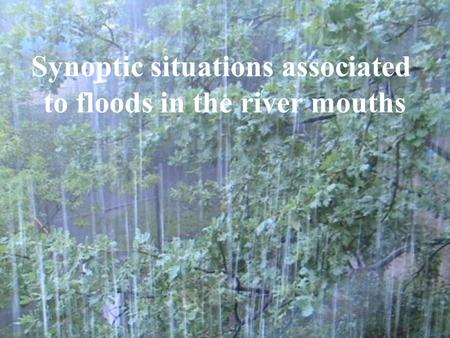 Synoptic situations associated to floods in the river mouths.