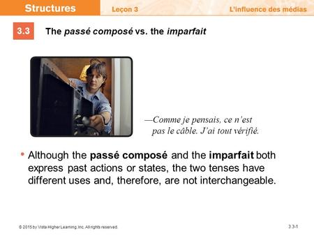 3.3 © 2015 by Vista Higher Learning, Inc. All rights reserved. 3.3-1 The passé composé vs. the imparfait Although the passé composé and the imparfait both.