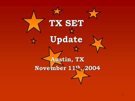 1 Austin, TX November 11 th, 2004 TX SET Update. 2 TX SET Version – 2.0A – 2.1 Discussion Topic.