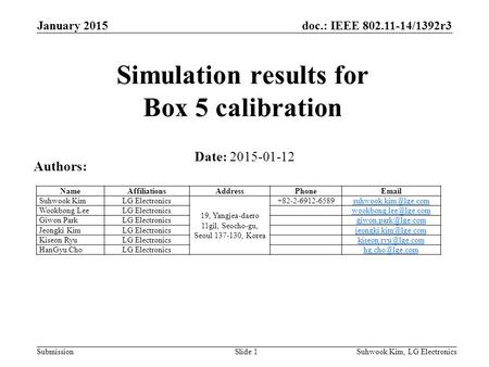 Doc.: IEEE 802.11-14/1392r3 SubmissionSuhwook Kim, LG ElectronicsSlide 1 Simulation results for Box 5 calibration Date: 2015-01-12 Authors: NameAffiliationsAddressPhoneEmail.