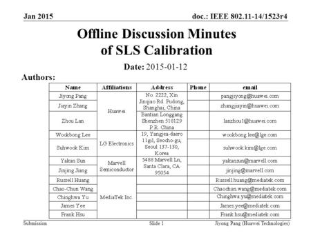 Doc.: IEEE 802.11-14/1523r4 Submission Offline Discussion Minutes of SLS Calibration Date: 2015-01-12 Authors: Slide 1 Jan 2015 Jiyong Pang (Huawei Technologies)