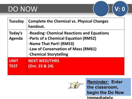 DO NOW V: 0 TuesdayComplete the Chemical vs. Physical Changes handout. Today's Agenda -Reading: Chemical Reactions and Equations -Parts of a Chemical Equation.