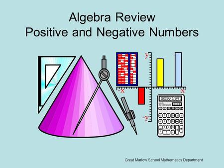 Algebra Review Positive and Negative Numbers Great Marlow School Mathematics Department.
